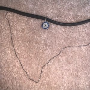 leather layered choker with charm